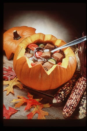 Beef Pumpkin Stew can be served in a hollowed out pumpkin.