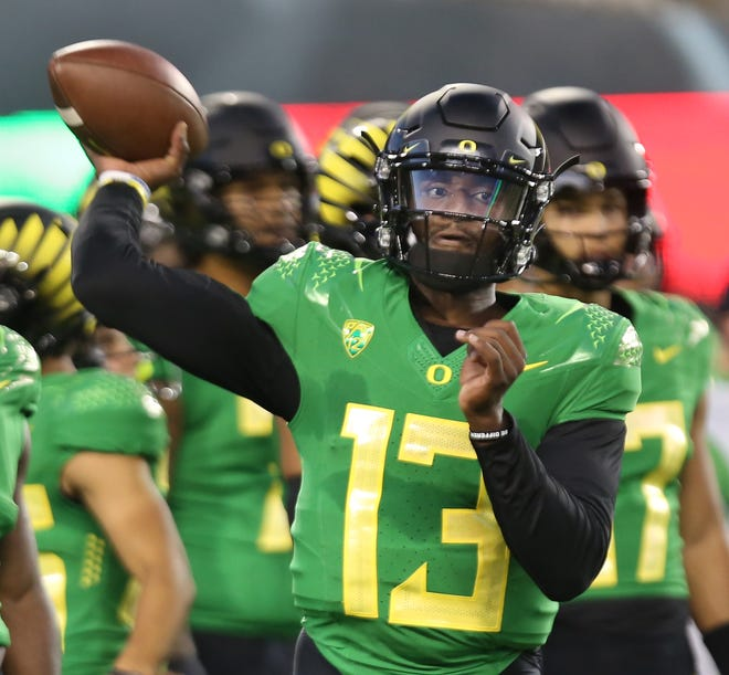 Oregon quarterback Anthony Brown Jr. warms up before the game against Arizona in their first Pac-12 game of the season.