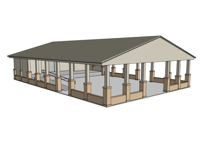 This is an artistic drawing of the proposed library pavilion.