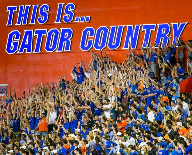 Fans do the wave during the Florida Gators' 38-14 victory over the Tennessee Volunteers on Sept. 25 at Ben Hill Griffin Stadium.