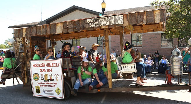 """The La-Or-Ma Shrine Club's entry, """"Hoosier Hillbilly Clan #14"""" during the parade Saturday."""