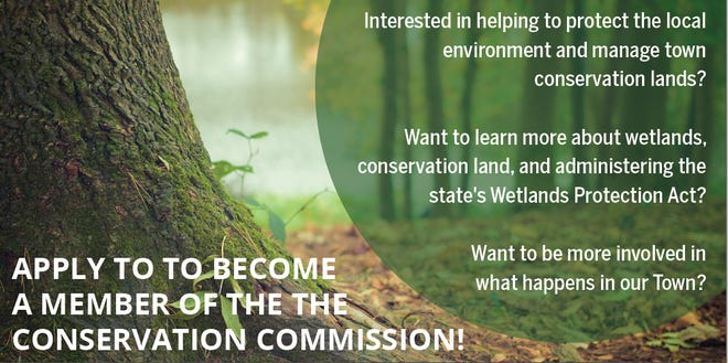 Swampscott Conservation Commission is down a member and encourages residents to apply to the selectmen-appointed board.