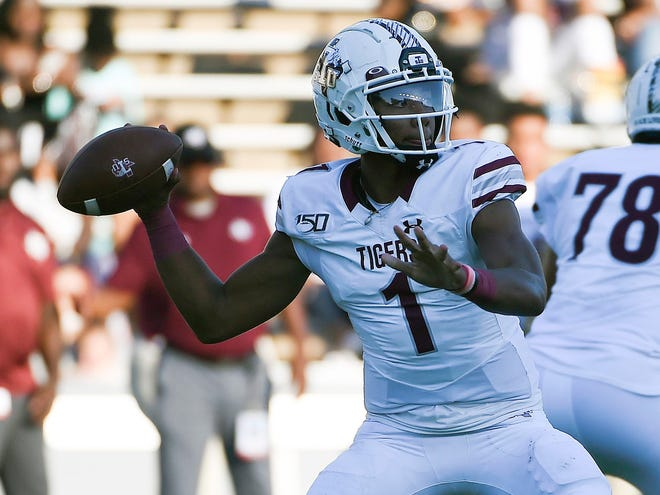 Texas Southern quarterback Andrew Body throws a pass during the first half of an NCAA college football game against Rice, Saturday, Sept. 25, 2021, in Houston. (Eric Christian Smith/Houston Chronicle via AP)