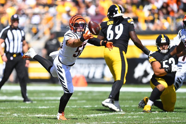 Logan Wilson #55 of the Cincinnati Bengals makes an interception during the first quarter in the game against the Pittsburgh Steelers at Heinz Field on September 26, 2021 in Pittsburgh, Pennsylvania.