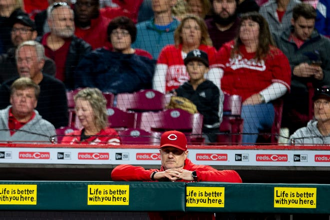 Cincinnati Reds manager David Bell looks on in the fifth inning of the MLB baseball game between the Cincinnati Reds and the Washington Nationals on Saturday, Sept. 25, 2021, at Great American Ball Park in Cincinnati.