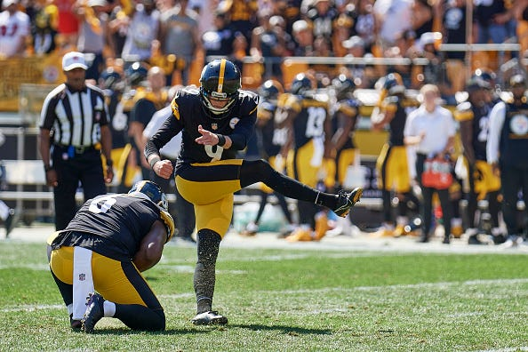 Steelers kicker Chris Boswell (9) kicks the point after Pittsburgh Steelers first touchdown during the game on September 19, 2021 at Heinz Field in Pittsburgh, PA.