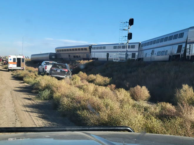 The Amtrak train derailed on Saturday, Sept. 25, 2021, in north-central Montana. Multiple people were injured when the train that runs between Seattle and Chicago derailed Saturday, the train agency said.