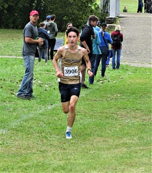 Lancaster junior Kaiden Lanoy, who placed sixth, helped lead the Golden Gales to a second-place finish in Saturday's Bob Reall Cross Country Invitational.