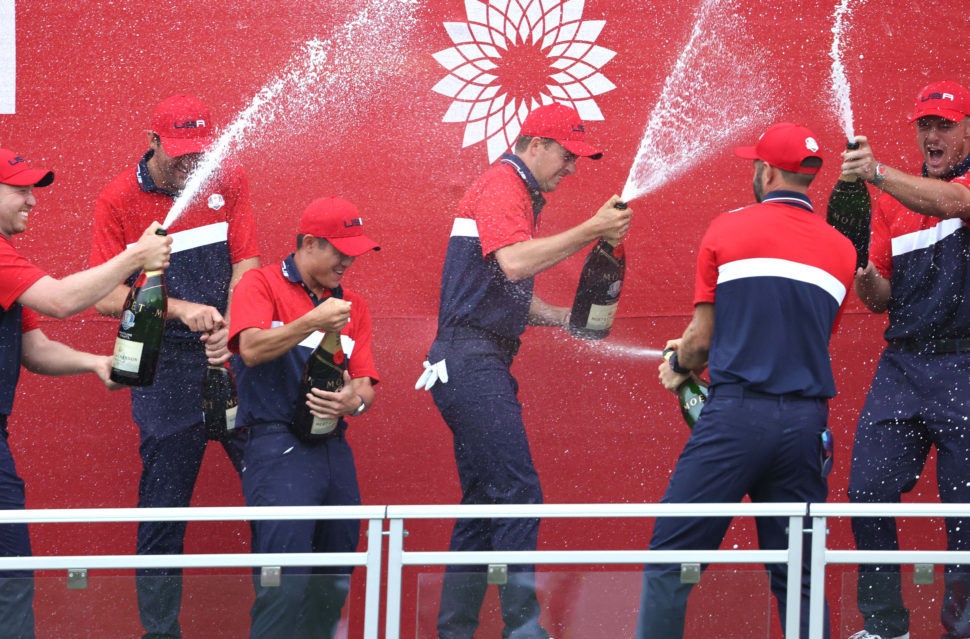 Team USA celebrates its Ryder Cup victory
