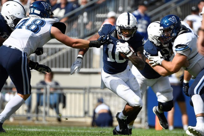 John Lovett, seen here Saturday in action against Villanova, was the Nittany Lions' leading rusher against the Wildcats with 45 yards.