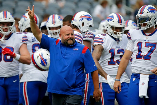 Aug 21, 2021; Chicago, Illinois, USA; Buffalo Bills offensive coordinator Brian Daboll gestures during warmups before the game against the Chicago Bears at Soldier Field. The Buffalo Bills won 41-15. Mandatory Credit: Jon Durr-USA TODAY Sports