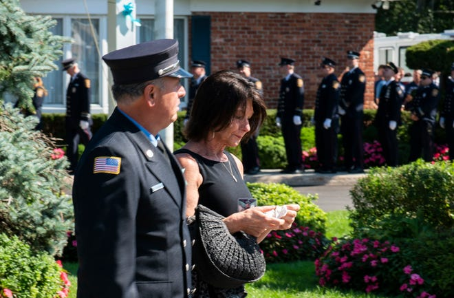 People arrive for a funeral home viewing for Gabby Petito in Holbrook, N.Y., Sunday, Sept. 26, 2021.