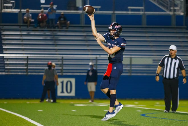 East View quarterback Peyton Adams and the Patriots cruised to a win over Elgin Friday in their District 13-5A DII opener. East View hosts Brenham in a critical district contest Friday.
