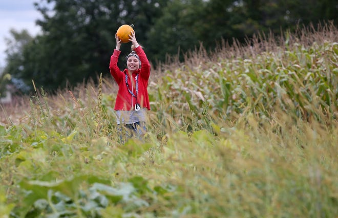 Riley Turner of Akron holds up the pumpkin she picked to show her family as they spend the afternoon Saturday at Rufener Hilltop Farms in Suffield.