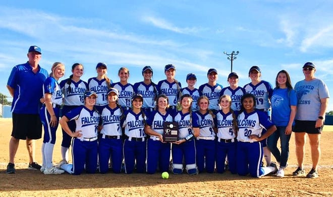 The Turner softball team poses for a photo last week after sweeping Springer to win a district tournament title. The Lady Falcons earned an automatic bid to Class B Regionals, where they'll host Verden at noon Thursday, Sept. 30.