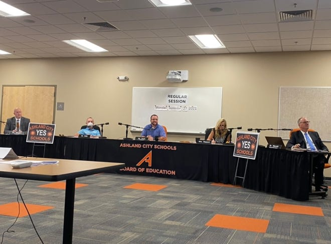 The Ashland City Schools Board of Education members listen to a technology update during their Monday meeting.
