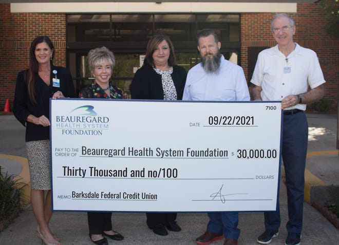Beauregard Federal Credit Union made a sizeable donation to Beauregard Health System.