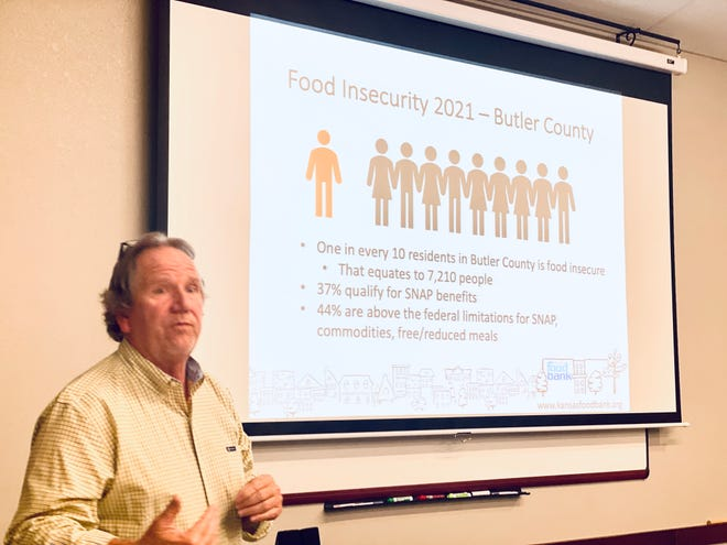 Brian Walker, President and CEO of Kansas Food Bank, shares food insecurity rates for Butler County.