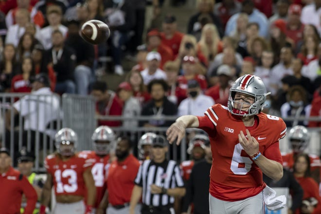 Ohio State Buckeyes quarterback Kyle McCord (6) throws the ball during the game against the Akron Zips at Ohio Stadium in Columbus, Ohio Sept. 25. Ohio State would win the game 59-7