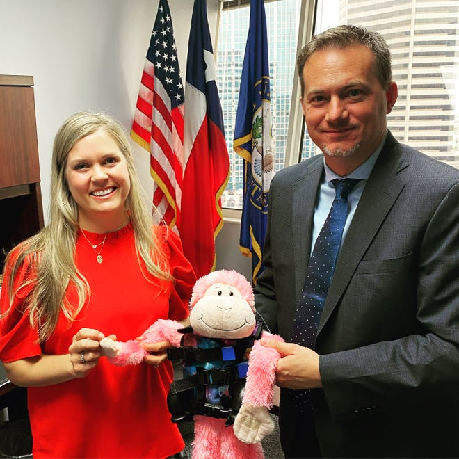 Jennifer Witte, PlarmD, meets with Congressman Michael Cloud, U.S. Representative for the 27th District of Texas. They met to discuss cystic fibrosis and the PASTEUR Act, which is a bill introduced to the House and Senate that aims to improve antimicrobial stewardship and the development of antibiotics.
