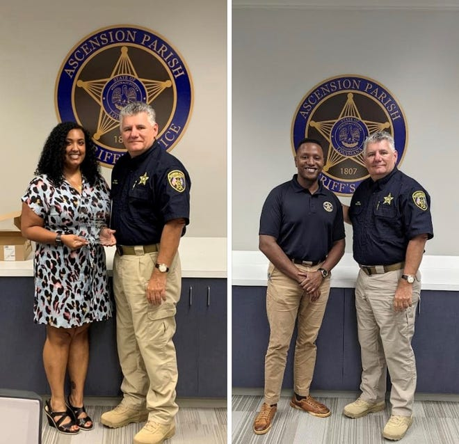 Ascension Parish Sheriff Bobby Webre bids farewell to former public information officer Allison B. Hudson, who moves on to a new position in Houston, and welcomes former WAFB reporter Donovan Jackson.