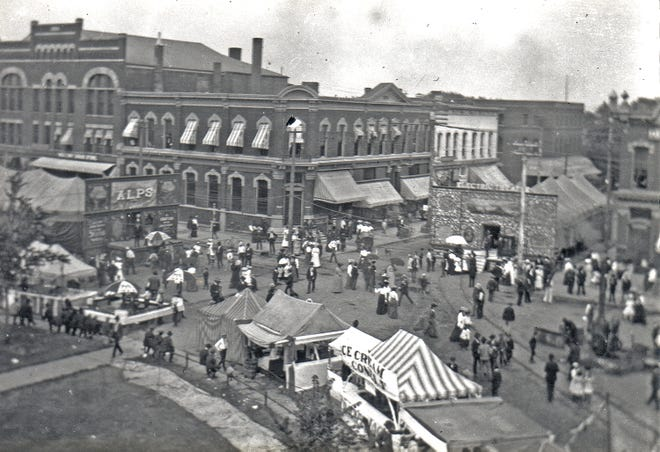 This photo, looking northeast from atop a Ferris wheel on the Public Square, shows the Tyrolean Alps exhibit (left) and the Electric Theatre, which showed filmed scenes from the Russo-Japanese War.