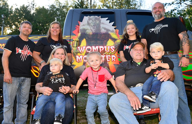 Tim and Vickie Jones are the owners of Wompus Woods Haunted Trail, closing this year after 25 years of operation. These are the members of the Jones family: Chris Bishop, Tammy Bishop, Cayla Bishop, Tim Jones, in front, Vickie Jones with Dakoka Bishop, Cayden Horne (center) and Tim Jones holding Blain Bishop.