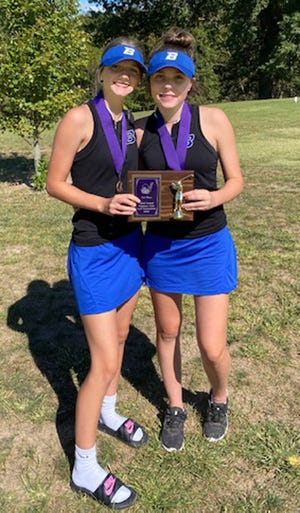 Maggie Bennett, right, and Carly Clarkson of the Brookfield High School golf Lady Bulldogs shot matching 92s on the Salisbury Municipal Golf Course last Wednesday (Sept. 22) to share fourth place in the Salisbury Invitational Tournament. As a team, BHS earned third place  out of nine teams.