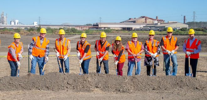 Local dignitaries break ground on Gerdau Steel's 700-acre solar facility in Midlothian last Thursday. The solar facility will generate 80 megawatts of electricity for the Gerdau mill and will consist of more than 231,000 solar panels.