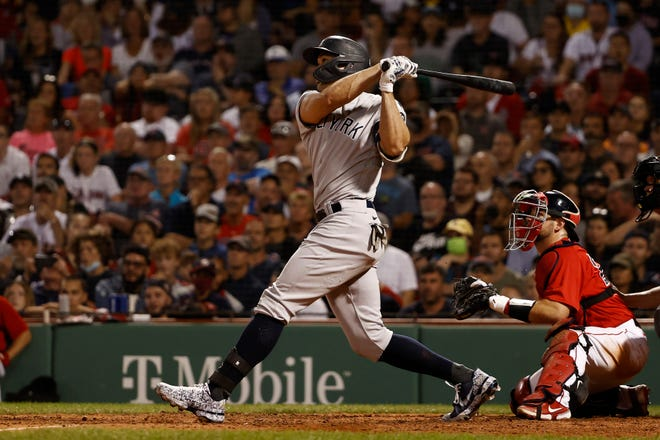 Yankees slugger Giancarlo Stanton had quite a weekend series against the Red Sox at Fenway Park with three home runs in three days, including grand slam in this at-bat on Saturday.