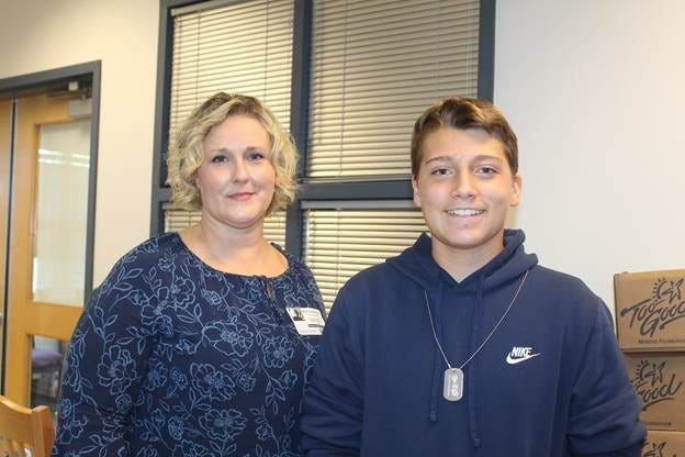 Pictured is Presenter Michelle Beckley and Student Daniel Orr.