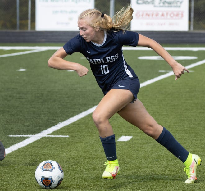 Fairless' Gracie Ashton takes the ball in for what will be the winning goal in a game against Perry in September.