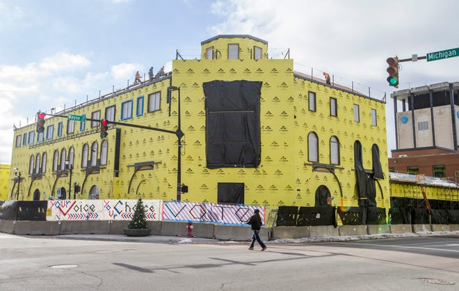 Shown in January while under renovation, the Main Library of the St. Joseph County Public Library will reopen Nov. 14 in downtown South Bend. A new Community Learning Center also has been added.