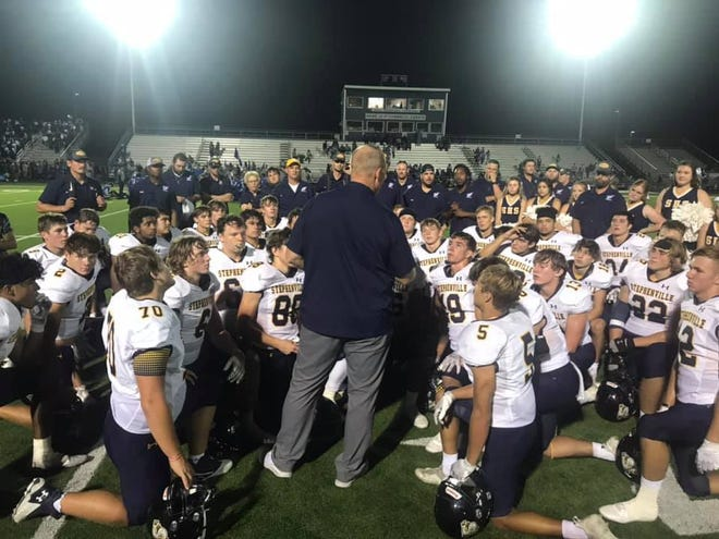 Stephenville High School football head coach Sterling Doty addresses the team after their 44-12 win over the Connally Cadets on Friday. The win puts the Jackets at a perfect 5-0 on the season.
