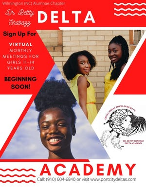 The Delta Academy for girls ages 11-14 in New Hanover, Brunswick and Pender counties meets virtually Oct. 9.