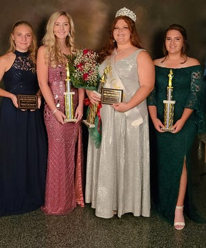 Miss Cinderella Grayce Judy was crowned during Sunday night's Tri Kappa Orange County Pumpkin Festival Pageant. She was also named Miss Congeniality. Pictured are, left to right, Miss Photogenic Makenlei Purkhiser, Second Runner-up Kenzie Harrell, Judy and First Runner-up Kaylee Hall.