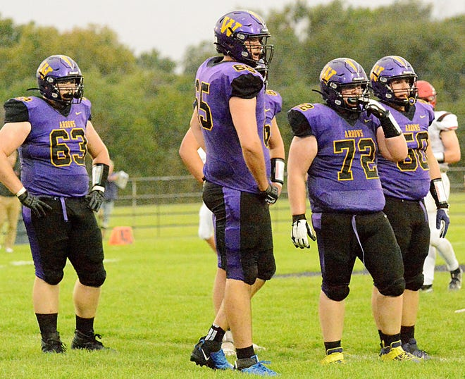 Lineman Jarrett Theisen (63), Paden Johnson (65), Spencer Stock (72) and Kolby Lacher (50) and the Watertown High School football team is getting ready to host Aberdeen Central in its homecoming game at 7 p.m. Friday at Watertown Stadium. The game is one of 16 area games on the Week 7 South Dakota high school schedule.