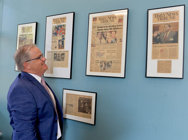 State Rep.  Thomas M. Stanley with News-Tribune clippings on the walls of his State House office,  September 23, 2021.