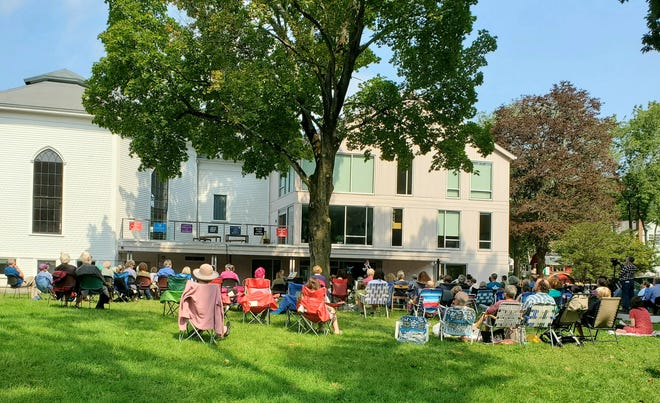 Follen Community Church in Lexington has had large crowds come to their outdoor services.