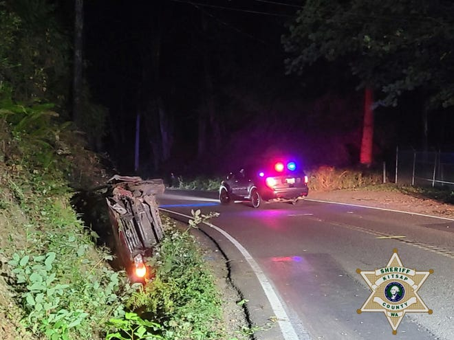 A view of a vehicle that crashed in North Kitsap on Saturday.