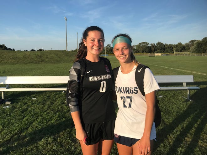 Goalie Alex Clark, left, and center back Izzy Benfield have played key roles for top-ranked Eastern's stingy defense this season.