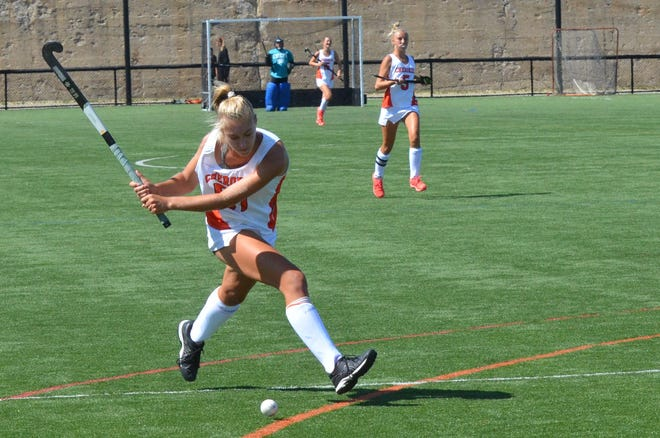 Cherokee senior Dani Gindville winds up for a shot against Germantown Academy (Pa.) at the Max Field Hockey National Invitational