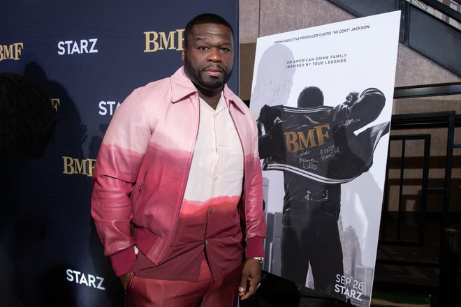 """Curtis """"50 Cent"""" Jackson, executive producer of """"BMF"""" on Starz, attends the Royal Oak Emagine screening of the show's first episode in Royal Oak, Michigan."""