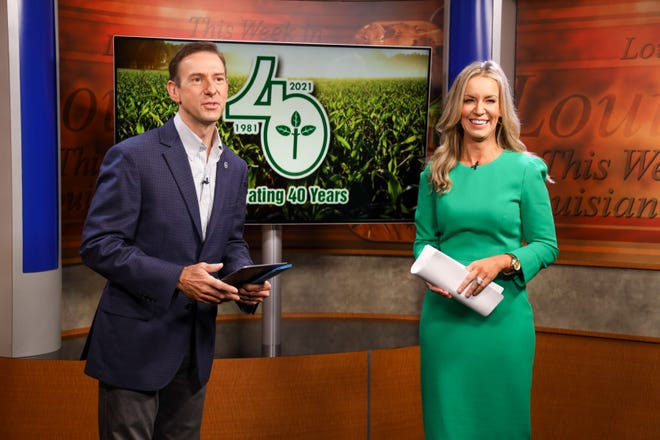 """""""This Week in Louisiana Agriculture"""" co-hosts Avery Davidson and Kristen Oaks-White celebrate the show's 40th anniversary."""