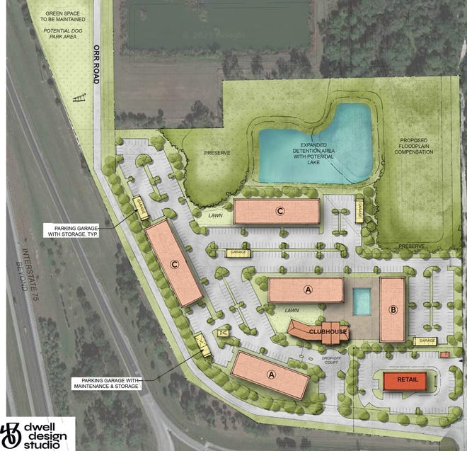 A developer wants to build 252 apartments and a restaurant with drive-thru on a 20-acre parcel northeast of the Bonita Beach Road and Interstate 75 exchange.