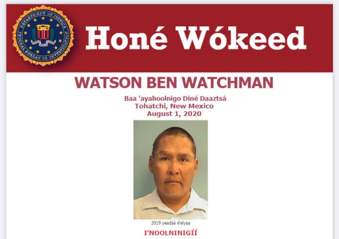 The FBI translated a Seeking Information poster for Watson Ben Watchman. He was found beaten to death on Aug. 1, 2020, in a residence three and a half miles south of the Tohatchi Speedway gas station along U.S. Highway 491.