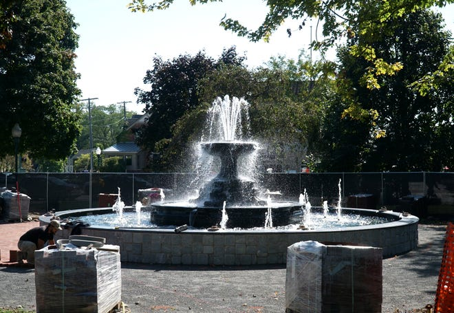 The new Kellogg Park fountain in Plymouth is turned on momentarily on Sept. 27, 2021, for a test run.