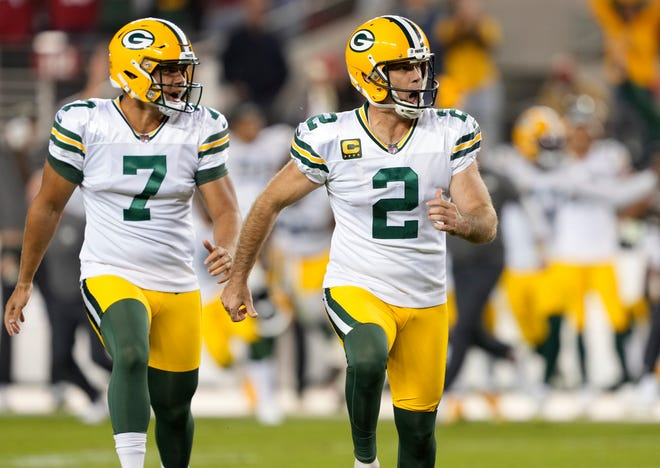 Mason Crosby (2) of the Green Bay Packers celebrates after kicking the game-winning field goal against the San Francisco 49ers in the game at Levi's Stadium on September 26, 2021 in Santa Clara, California.
