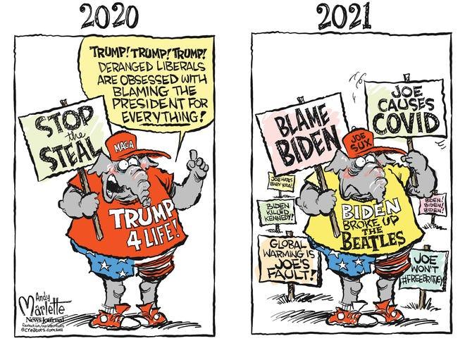 Marlette cartoon: Blaming Biden