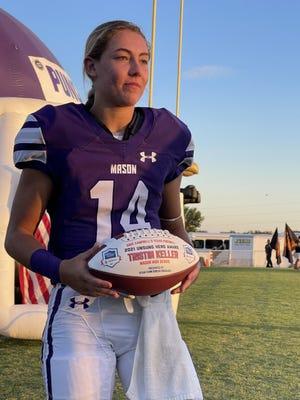 Mason High School's Tristin Keller received the Dave Campbell's Texas Football Unsung Hero award Friday, Sept. 24, 2021, at Mason's R. Clinton Schulze Stadium.